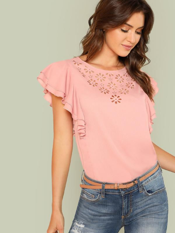 Laser Cut Insert Flutter Sleeve Top