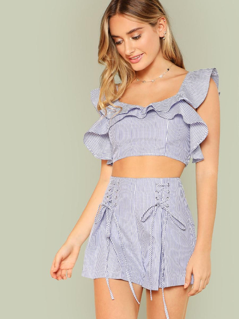 Ruffle Striped Crop Top & Lace Up Shorts Co-Ord