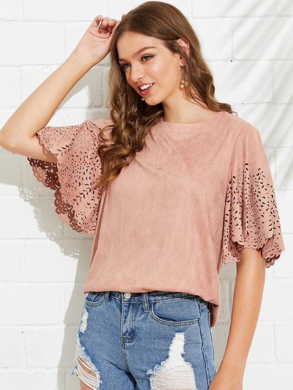 Scallop Laser Cut Bell Sleeve Suede Top