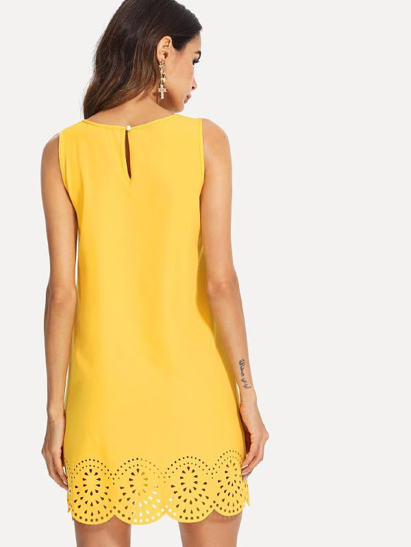 Scallop Laser Cut Sleeveless Dress