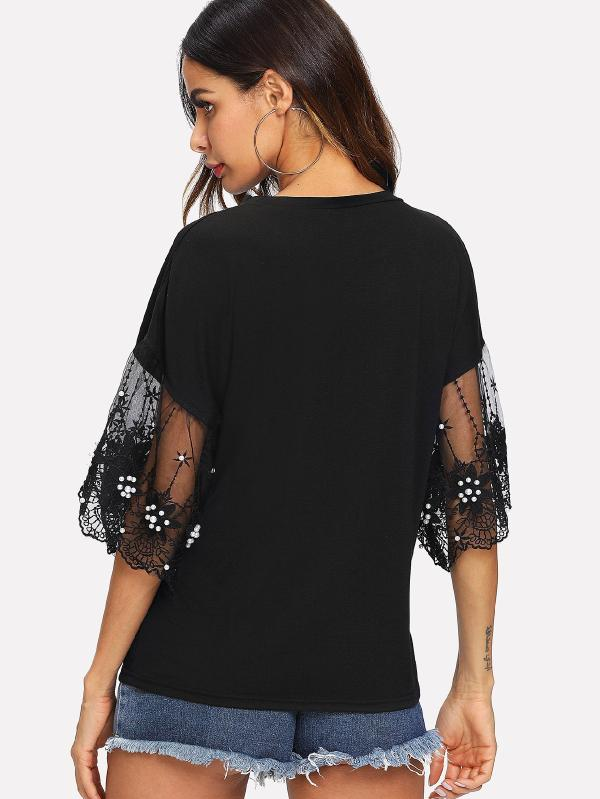 Flare Sleeve Lace Contrast Top