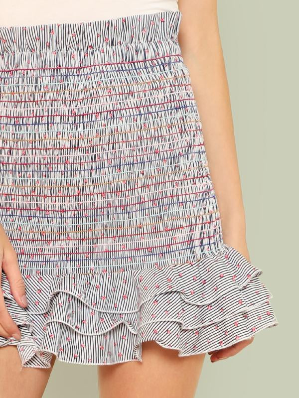 Floral And Stripe Print Frill Trim Shirred Skirt