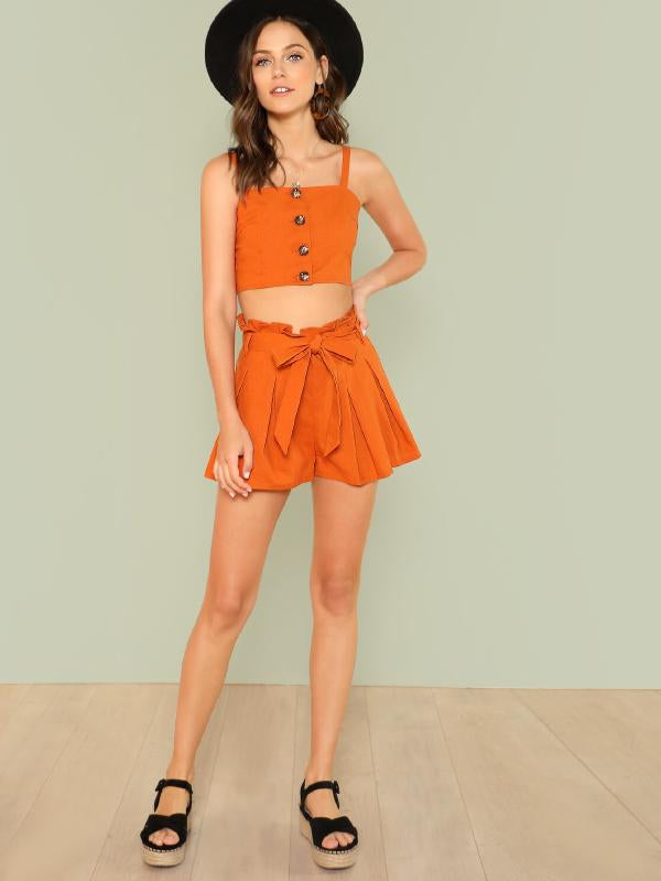 Button Up Cami Top & Belted Shorts Co-Ord