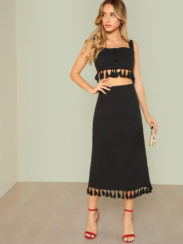Thick Strap Tasseled Crop Top & Skirt Co-Ord