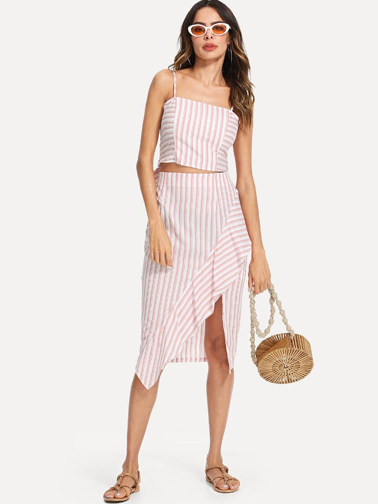 Tied Back Striped Cami & Ruffle Wrap Skirt Set