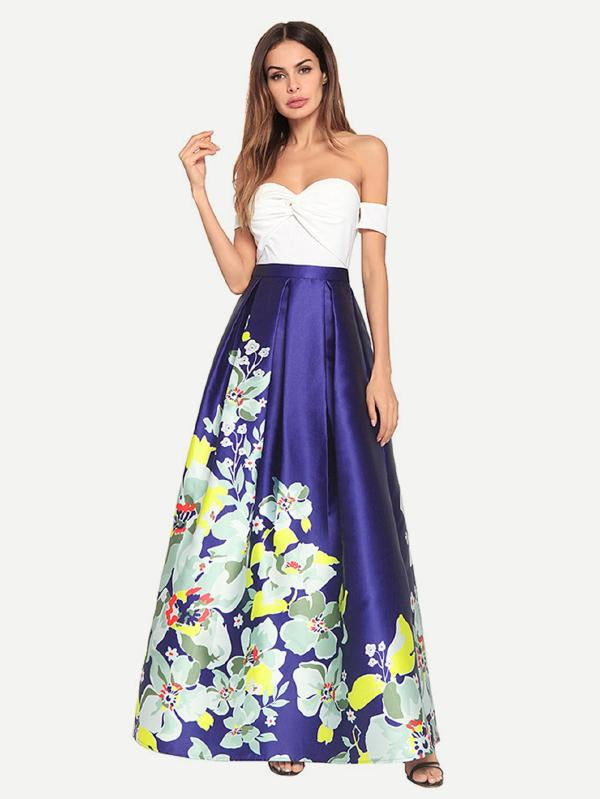 Floral Print Off Shoulder Longline Dress