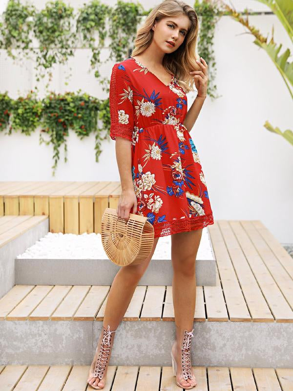 Floral Print Hollow Out Dress
