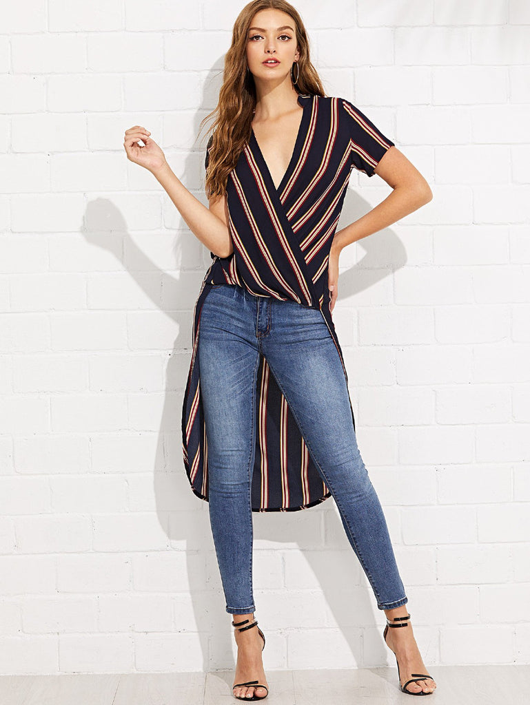 Twist Front Striped Dip Hem Blouse