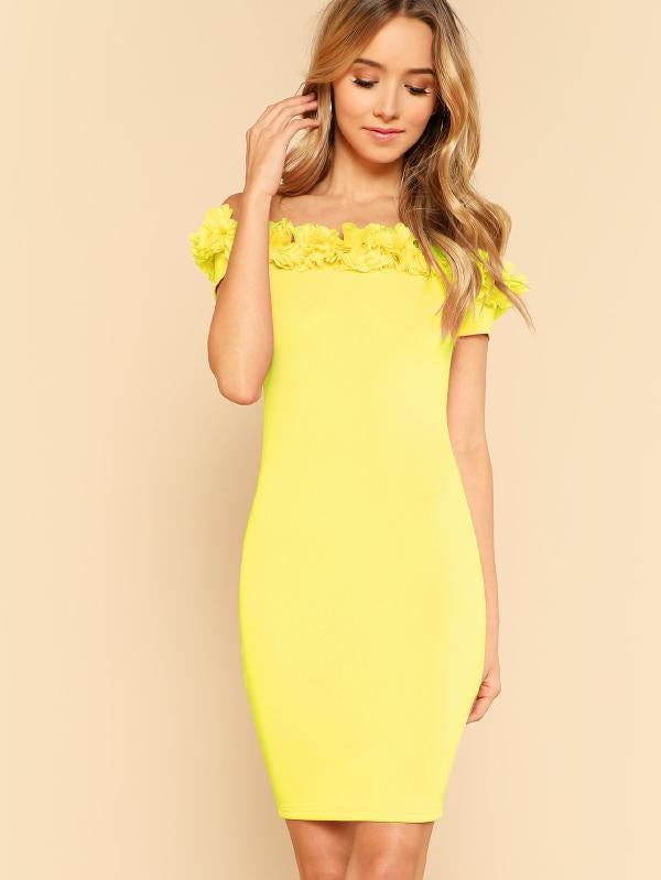 3D Applique Form Fitting Bardot Dress