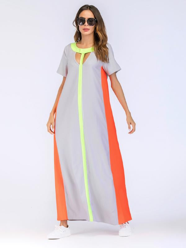 Color Block Cut Out Longline Dress