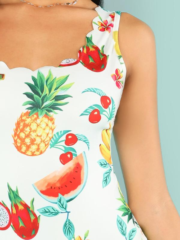Fruit Print Scalloped Tank Bodysuit