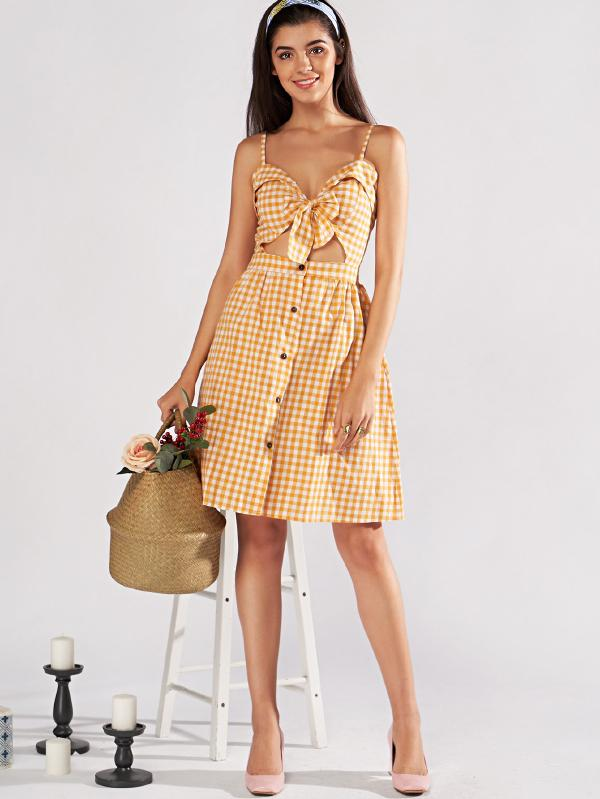Single Breasted Knot Plaid Cami Dress