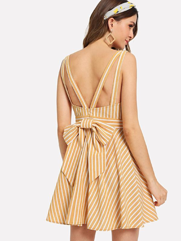 RZX Bow Tie Back Fit & Flare Striped Dress