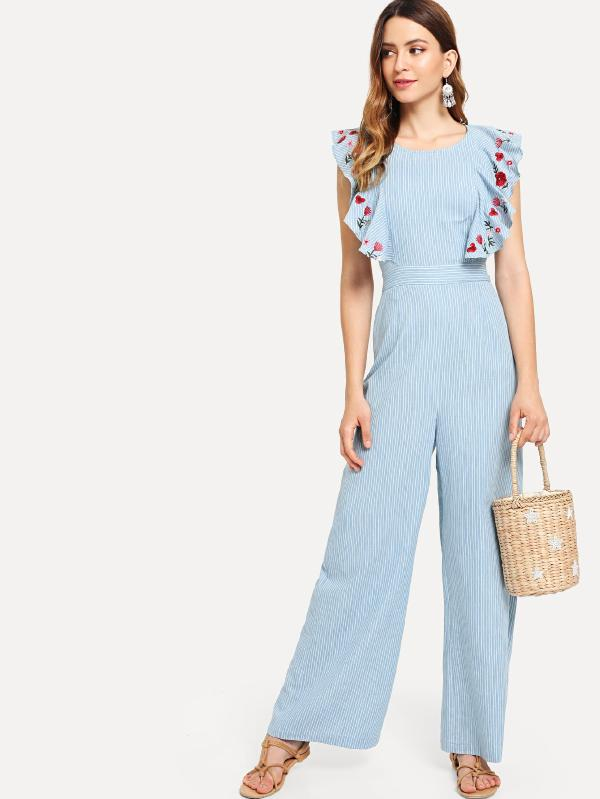 Floral Embroidered Ruffle Trim Wide Leg Jumpsuit