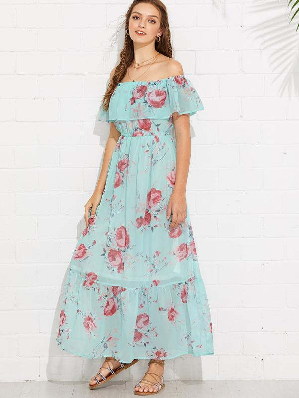 Flounce Off Shoulder Floral Dress