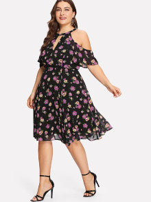 Open Shoulder Floral Print Dress