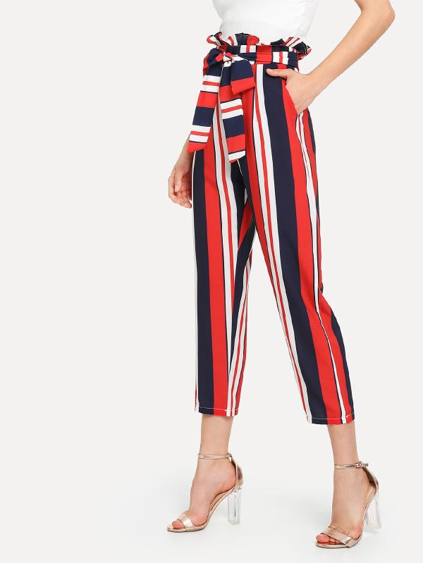 Frill Waist Self Tie Striped Pants