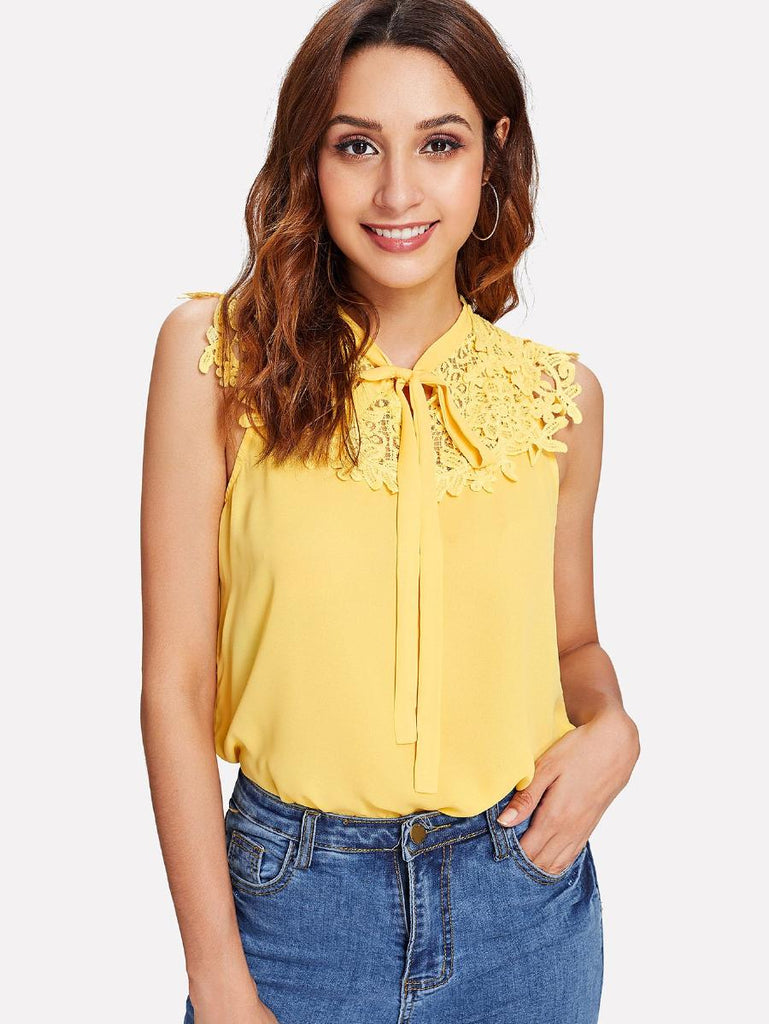 Guipure Lace Applique Tie Neck Top