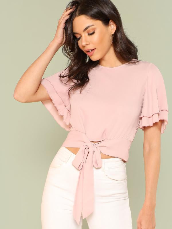 Tie Front Layered Bell Sleeve Top