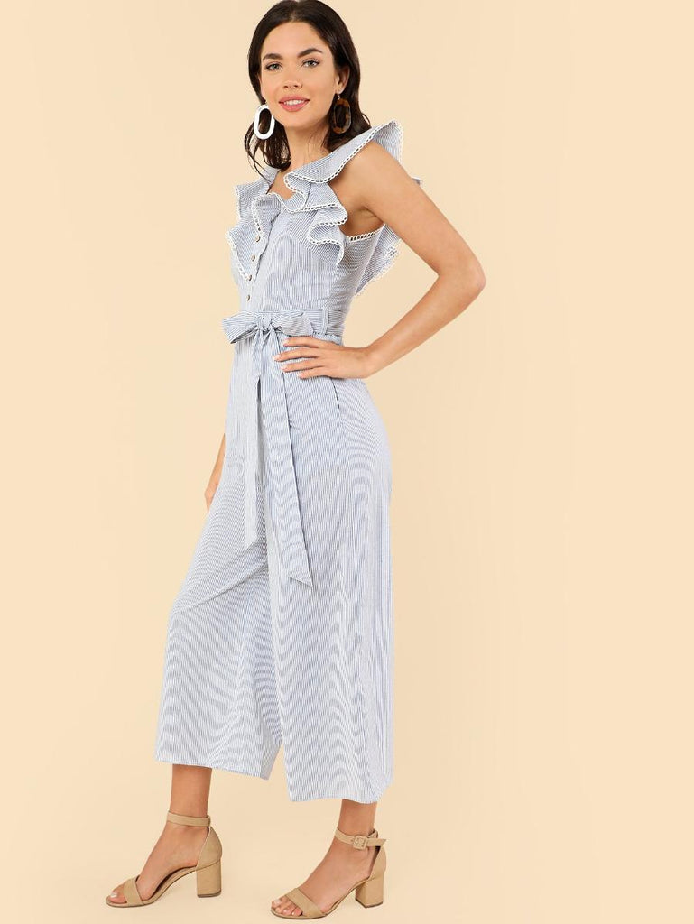 Button Front Wide Leg Ruffle Jumpsuit