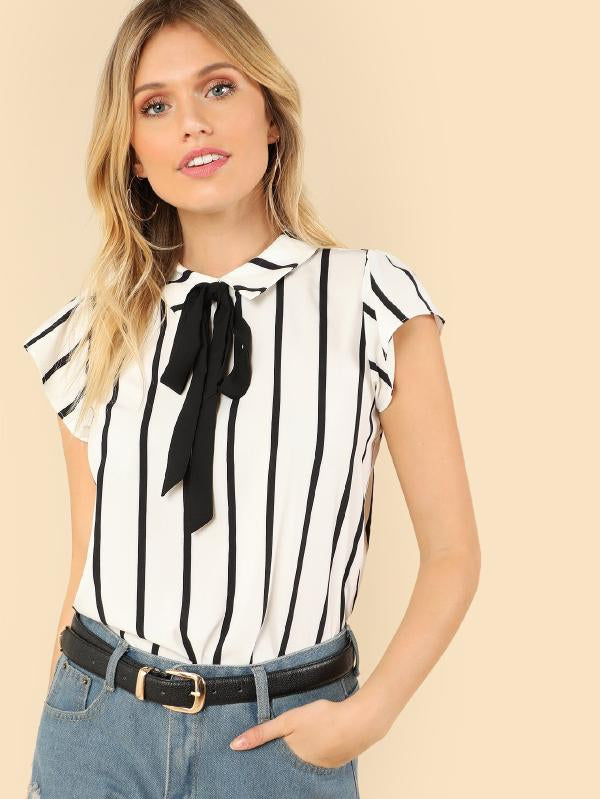 RZX  Tie Neck Striped Top