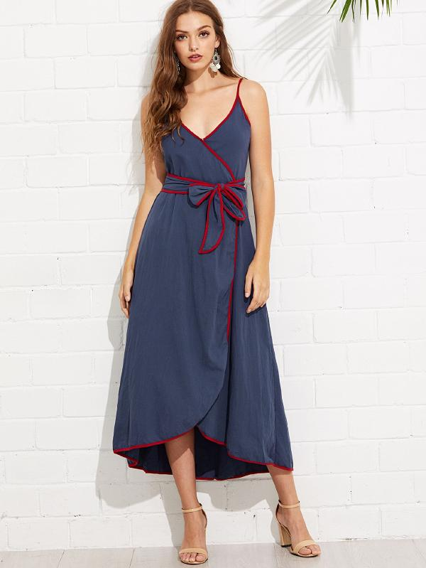 RZX Contrast Binding Wrap Cami Dress With Belt