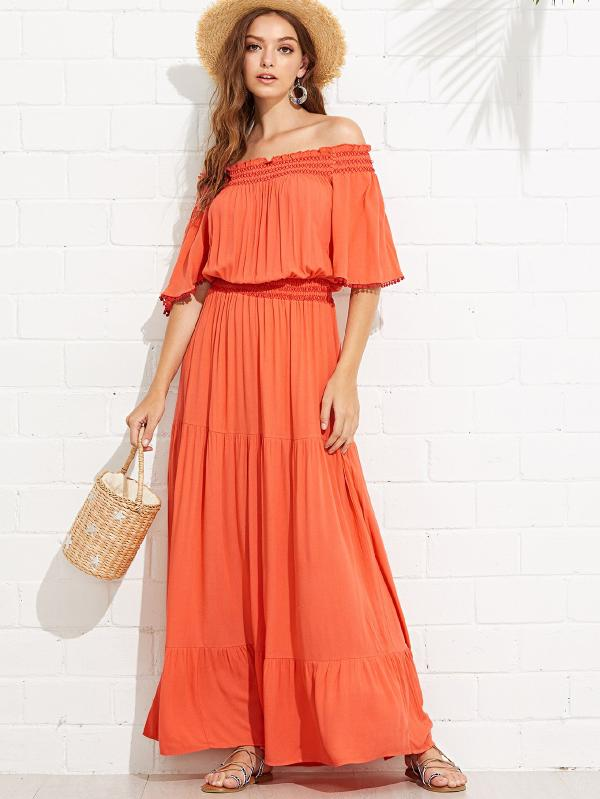 Bell Sleeve Shirred Waist Tired Off Shoulder Dress