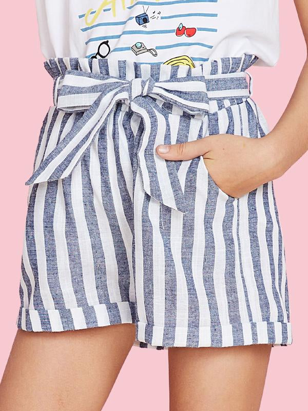 Self Tie Cuffed Hem Striped Shorts