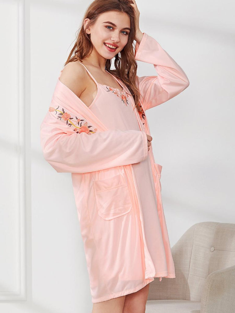 Flower Embroidered Cami Dress With Robe