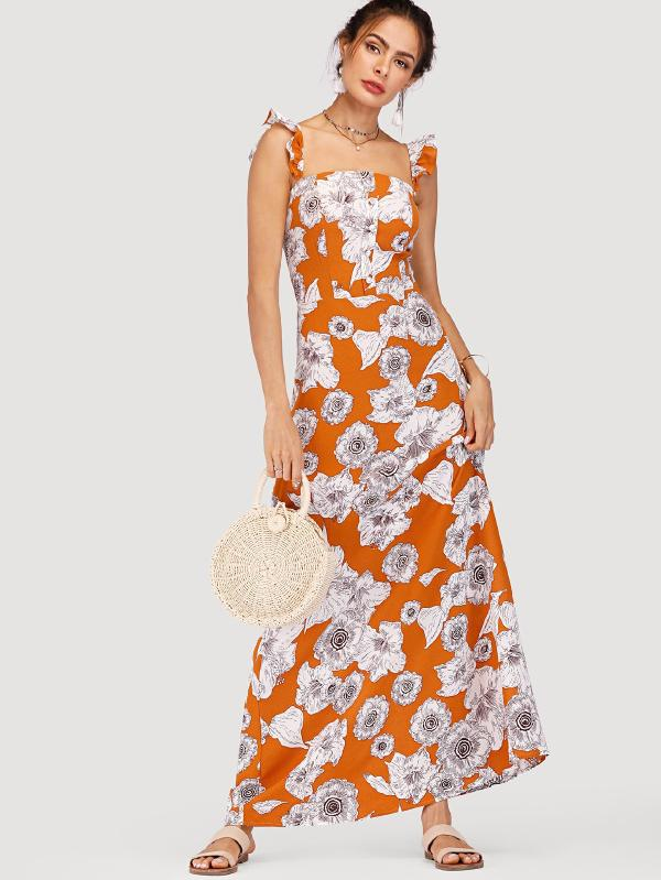 Floral Print Ruffle Strap Dress