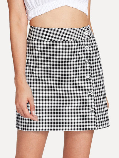 Button Side Gingham Skirt