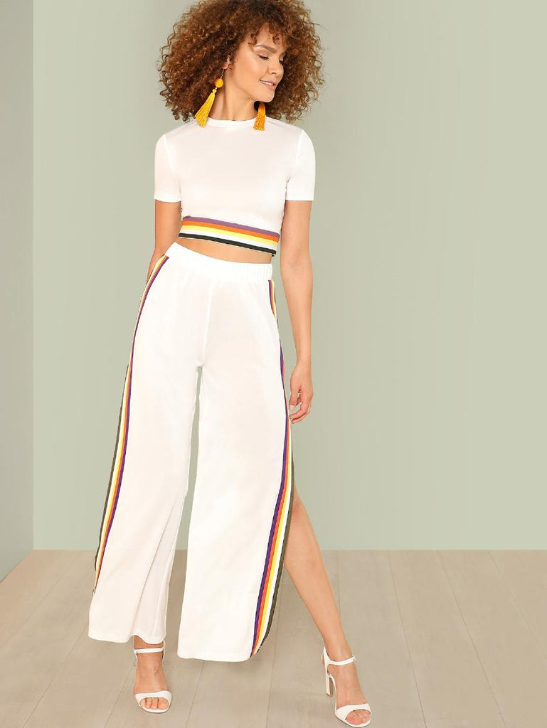 RZX Contrast Tape Crop Top & Pants Set