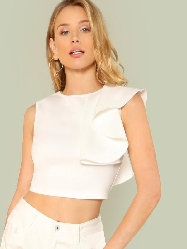 Ruffle Detail Crop Top