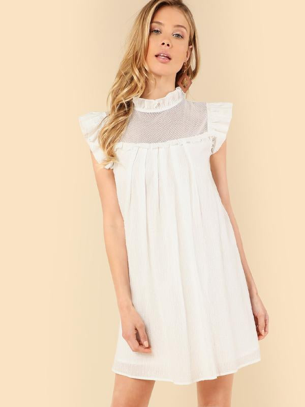 Cut Out Front Ruffle Armhole Solid Dress