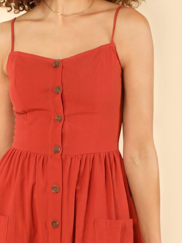 Pocket Patched Button Up Cami Dress