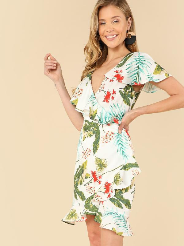 Asymmetrical Neck Ruffle Tropical Dress