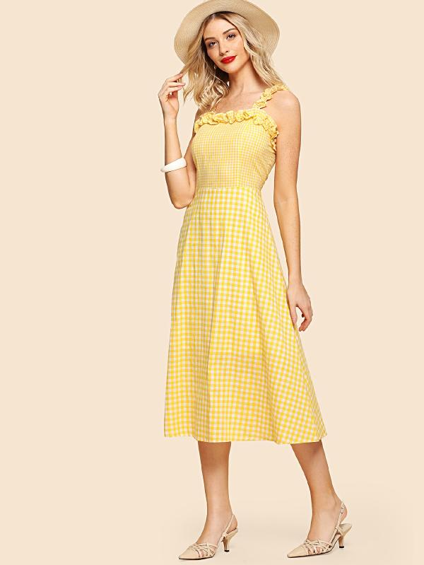 Frill Detail Mixed Gingham Dress