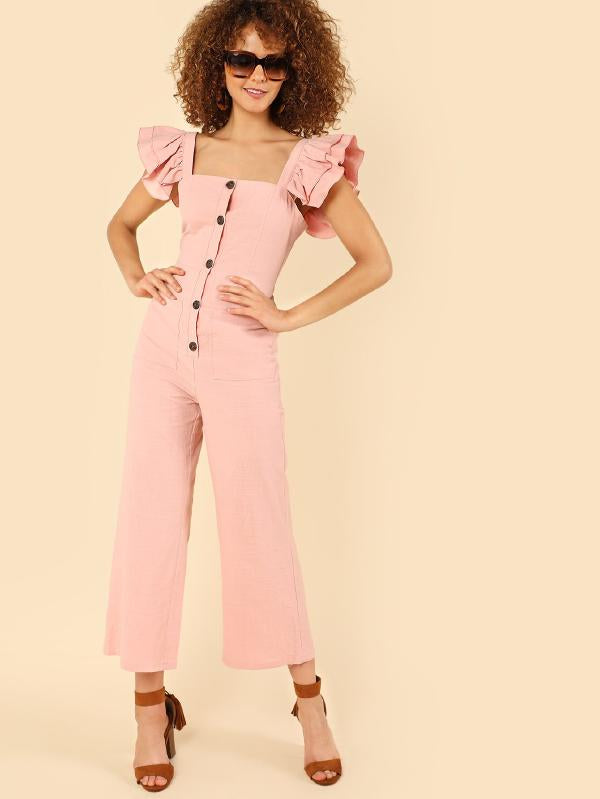 Layered Ruffle Strap Button Up Jumpsuits