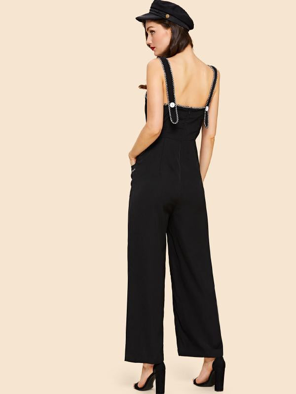 Double Breasted Patch Pocket Front Pinafore Jumpsuit
