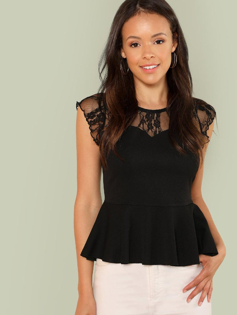 Zip Back Lace Insert Peplum Top