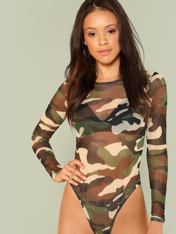 Long Sleeve Camouflage Bodysuit