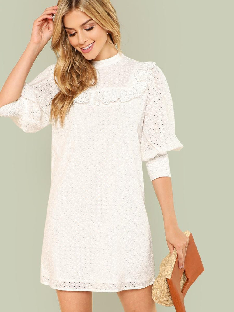 Laser Cut Insert Bishop Sleeve Ruffle Hem Dress