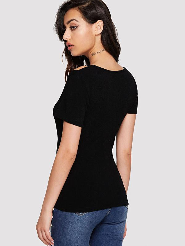 Cut Out Textured Fitted Top
