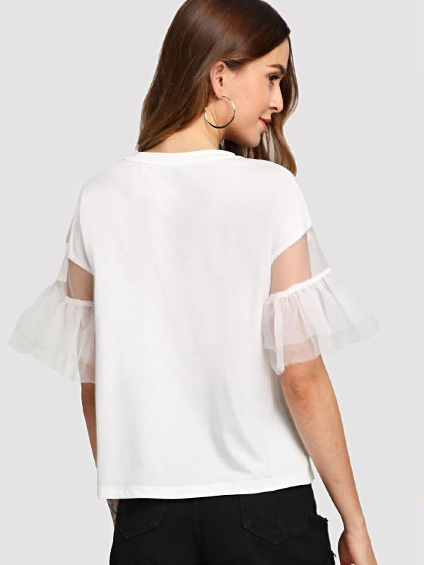 Lace Contrast Bow Cartoon Print Tee