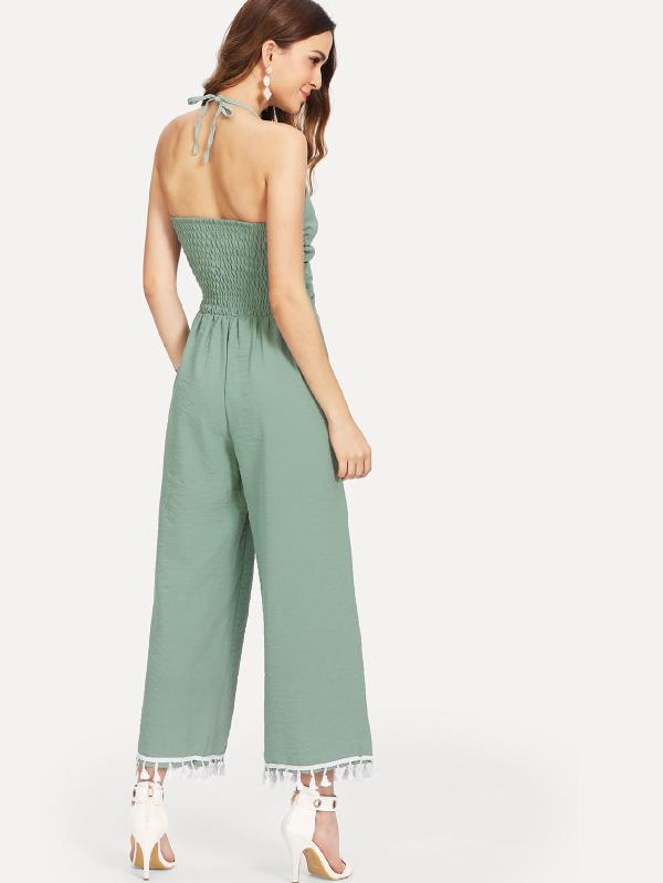 RZX Cut Out Knot Front Fringe Trim Jumpsuit