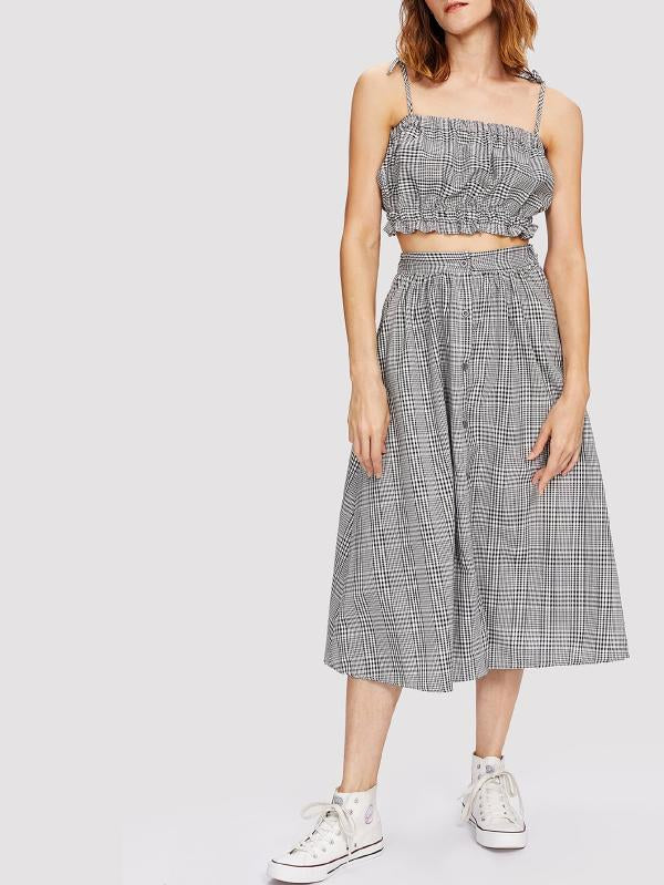 Frill Trim Plaid Crop Cami Top With Skirt
