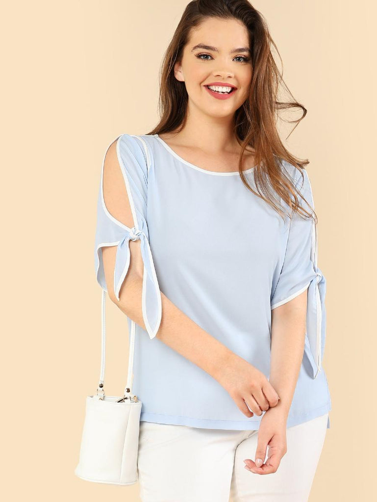 Contrast Binding Knot Cuff Blouse