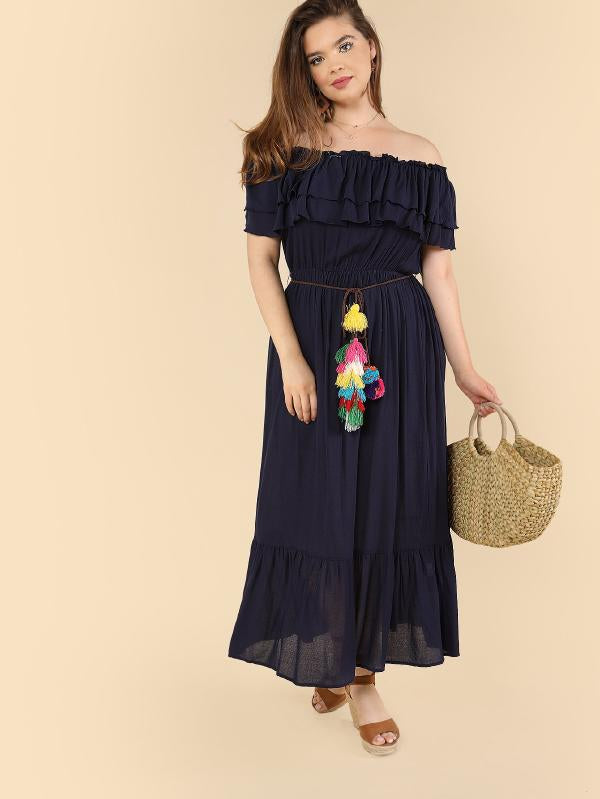 b5b150a9fd07 Layered Flounce Off Shoulder Dress – The Style Syndrome