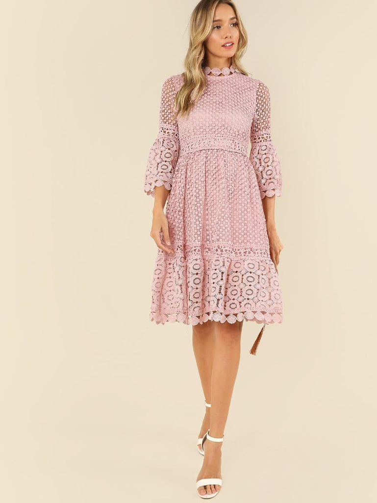 Flounce Sleeve Guipure Lace Dress