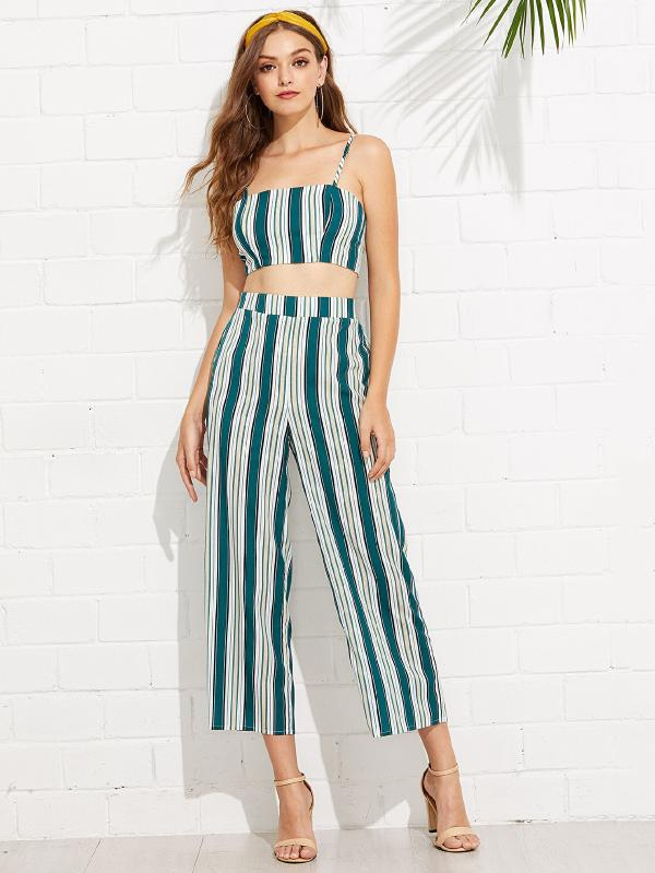 Tied Back Striped Crop Cami & Culotte Pants Set